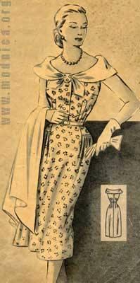 женское платье из шелка мода 50-х