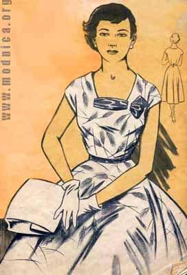 женское платье из плотного шелка мода 50-х