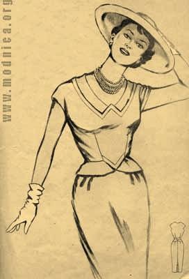платье из шелковой ткани мода 50-х