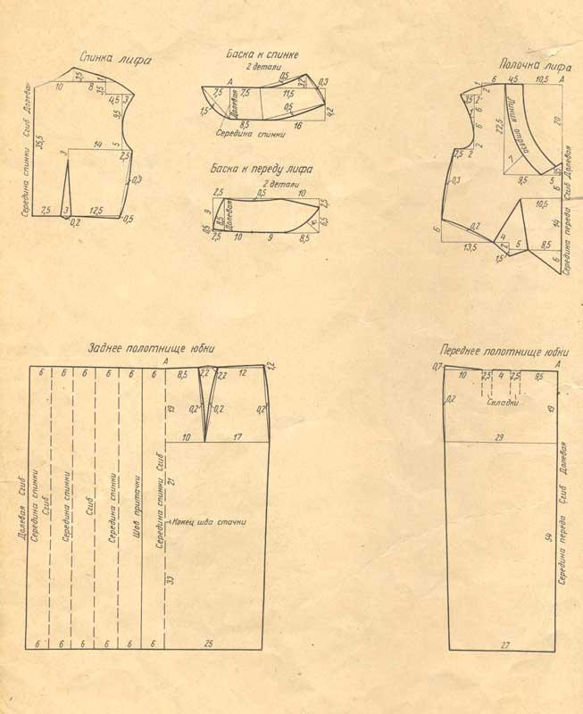 выкройка платья ретро из шелковой ткани.