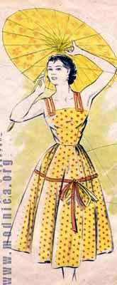 сарафан из хлопка мода 50-х