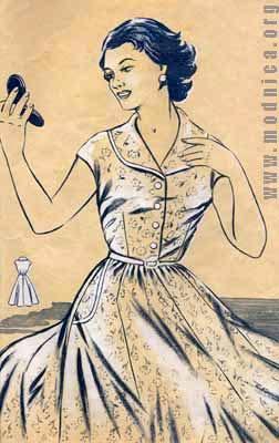 женское платье их хлопка мода 50-х