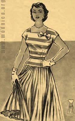 женский костюм из шелка мода 50-х